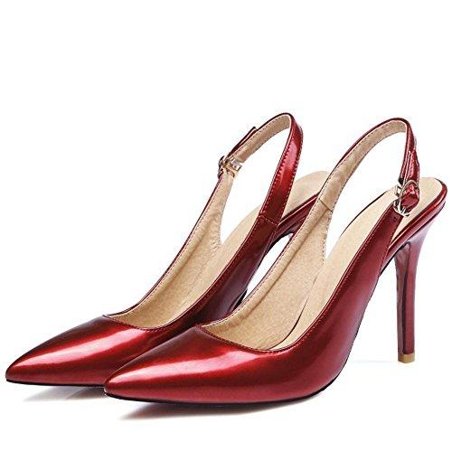 TAOFFEN Women Fashion Slingback Court Shoes Stiletto Red TSD1NQb5W