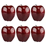 Kesoto 6pcs Artificial Red Apple Fake Fruit House Kitchen Party Decoration, Faux Big Red Apples, 3.3 x 2.9 Inches