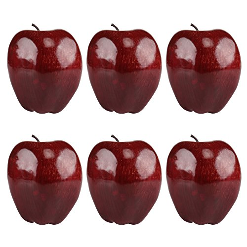 Kesoto 6pcs Artificial Red Apple Fake Fruit House Kitchen Party Decoration, Faux Big Red Apples, 3.3 x 2.9 Inches by Kesoto