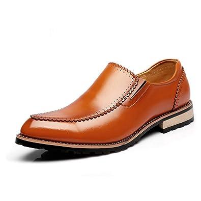 e835d5f2222b10 Chaussure en Cuir sans Lacet pour Homme Soulier Pointue de Coiffeur Souple  Chaussure de Ville de