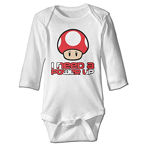 Unisex Super Mario Bros- Red Mushroom Power Up Baby Onesies Outfits Sleepwear Long Sleeve