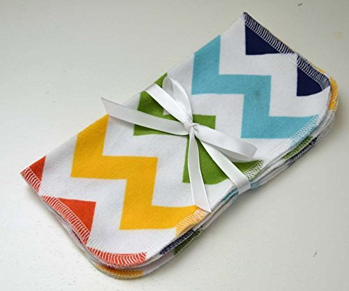 1 Ply Printed Flannel Washable Multi Color Stripes Set Napkins 8x8 inches 5 Pack - Little Wipes (R) (Stripes Washcloth)