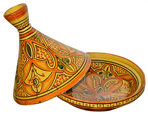 Moroccan Handmade Serving Tagine Exquisite Ceramic With Vivid colors Original 8 inches Across by Serving Tagines (Image #1)
