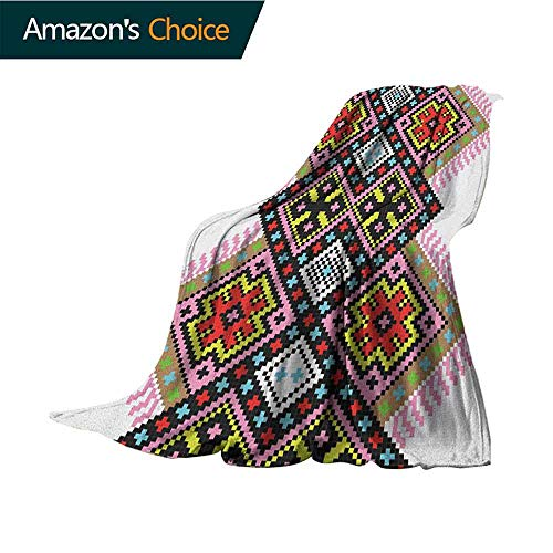 Vintage Wearable Blanket,Folk Ornament Ethnic Elements Arabesque Knitting Motifs Inspired Geometric Design Warm & Hypoallergenic Washable Couch/Bed Throws,Microfiber,30
