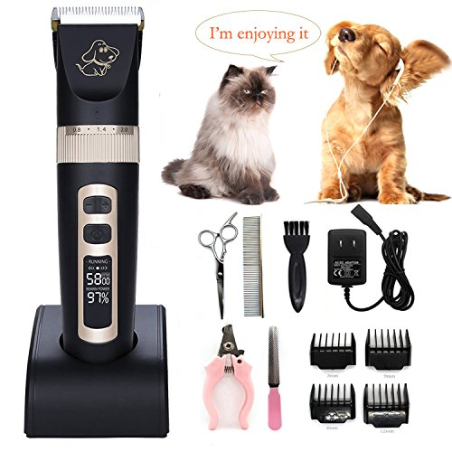 [2018 New Version]Pet-Pro Pet Clipper Dog Grooming Kit for Dogs Cats and Other Pets Long or Short Hair Professional Cordless Dog Hair Trimmer with 4 Combs, Guides, 2 Scissors, Nail Kits(P9) (Tools Nail Scissors Pet Grooming)