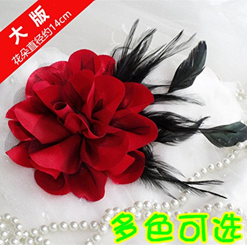 Large boutique version of Korean men and women feather fabric flower corsage brooch big shoulder flower show hosted accessories headdress (Corsage Shoulder)