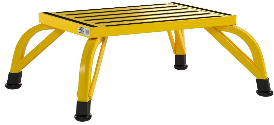 Safety Step Aluminum Industrial Step Non-Slip 15''x19'' Platform 1000lb Capacity - Safety Yellow - Self-Leveling Anti-Tip Design, Will not Corrode - (10'' High)