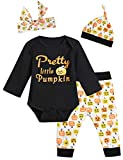 Baby Girls' 4PCS Outfit Set Pumpkin Romper Halloween Pants and Hat with Headband (6-12 Months)