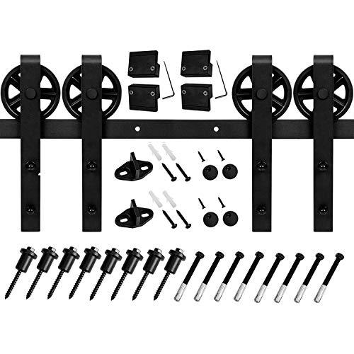EaseLife 10 FT Vintage Strap Industrial Wheel Sliding Barn Wood Door Hardware Track Kit,(10FT Track Double Door)