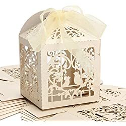 KAZIPA 50pcs Laser Cut Wedding Favor Boxes,2.2''x2.2''x2.2'' Gift Boxes with 50 Ribbons, Rustic Wedding Decoration for Wedding Decoration Bridal Shower Party Favor Birthday(Ivory)
