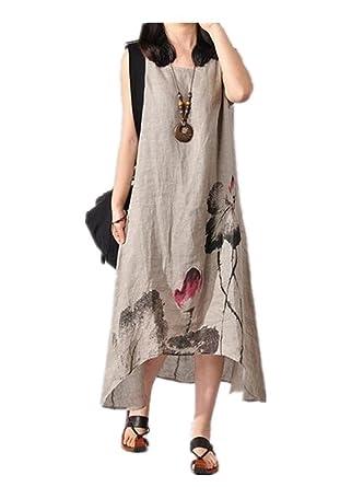 04f4a092f6 Tengfu Women s Sleeveless Ink Print Irregular Cotton Linen Long Maxi Dress  Grey