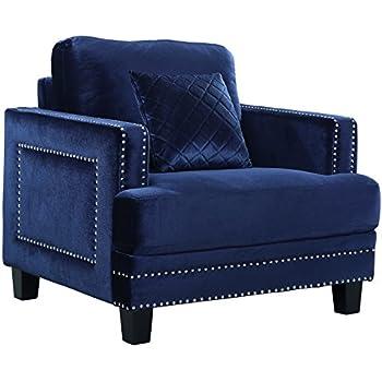 Amazon Com Meridian Furniture Ferrara Velvet Upholstered