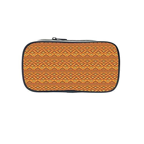 - Customizable Pen Bag,Orange,Asian Design Elements Traditional Paisley Floral Pattern Swirls Leaves Ethnic Motif Decorative,Multicolor,for Kids,3D Print Design.8.7