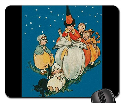 Mouse Pads - Witch Children Black Cat Night Fear -
