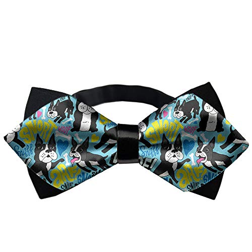 Men/Boys Pre Tied 3D Printed Bow Tie, Adjustable Bowties - Boston Terrier Pop Art Necktie, Formal Occasions Butterfly Bow Tie, Wedding Concert, Music Party -