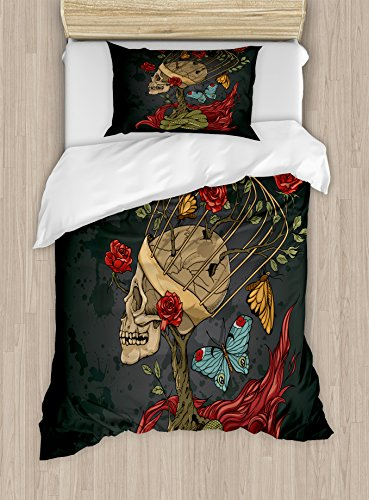 Ambesonne Skull Duvet Cover Set Twin Size, Evil Mexican Sugar Skeleton with Bush of Roses Snake and Butterfly Artwork, Decorative 2 Piece Bedding Set with 1 Pillow Sham, Ruby Grey