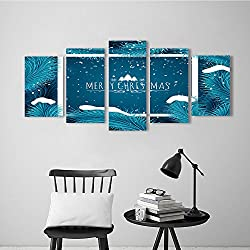 5 Pieces Modern Wall Art Decor Frameless Holiday Christmas Background Frozen Blue fir Tree and Text Greeting Card Vector Template. for Home Print Decor for Living Room