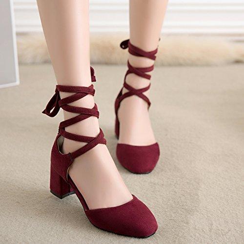 AIYOUMEI Damen Wildleder Chunky Heel Pumps mit Schnürung und 6cm Absatz Blockabsatz Bequem Schuhe Weinrot