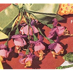 Vintage Crochet PATTERN to make - Fuchsia Flower Corsage Hanger Hair Ornament. NOT a finished item. This is a pattern and/or instructions to make the item only.