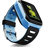 OLTEC Smart Watch for Kids - Smart Watches for Boys Smartwatch GPS Tracker Watch Wrist Android Mobile Camera Cell Phone Best Gift for Girls Children boy Pink Blue Yellow (Blue) (Blue_use)