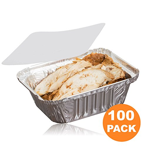 Food Safe Aluminum - [100 Pack] Rectangular 1 lb 16 oz Pint 6 x 5 x 2