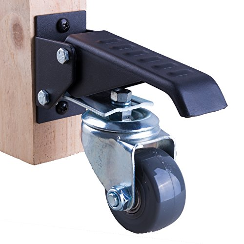 Workbench Caster kit - 4 Extra Heavy Duty Retractable casters, 800 lbs Weight Capacity, Urethane Wheels by Whistler