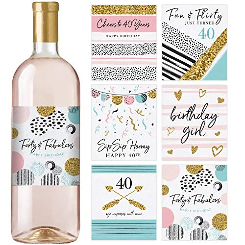40th Birthday Wine Bottle Labels | Set of 6 | Birthday Gifts For Her | 40th Birthday Party Decorations, Ideas and ()