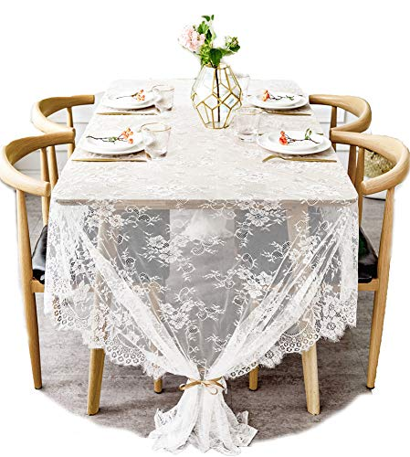 (BOXAN 60x120 Inch Gorgeous White Lace Tablecloth Overlay Rose Vintage Embroidered, Romantic Boho Wedding Reception Table Decor, Baby & Bridal Shower Décor, Elegant Chic Outdoor Tea Party Tablecover )