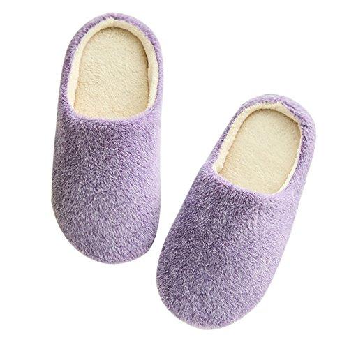 Nibesser Doux Semelle Enfant Grand Violet Adulte Chaussons Multicouleur Peluche Chaud Antidérapant Pantoufles ABqSFrA