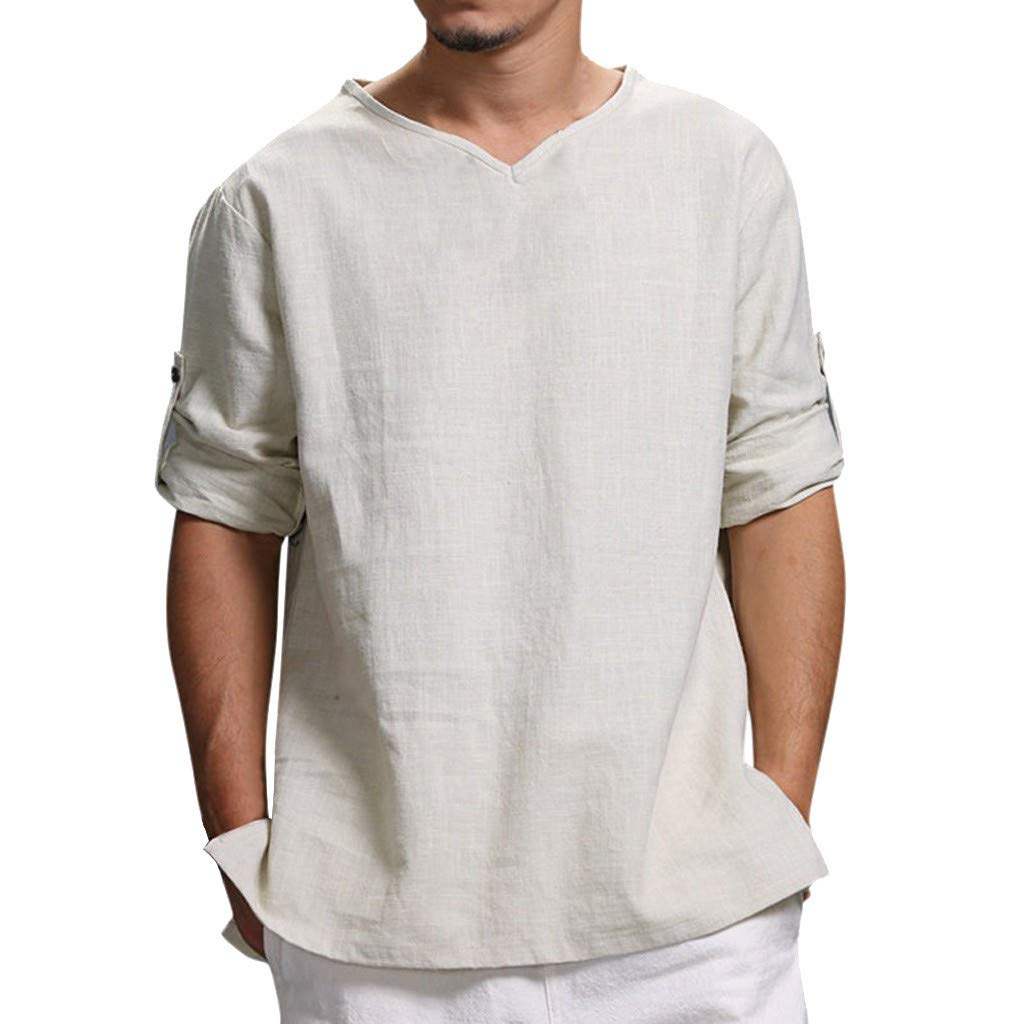 Men's V Neck Athletic Shirts, Dry Fit Cotton Linen Casual Short Sleeve Workout T-Shirts Tees White by Jhualeek