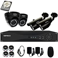 SANSCO Security Camera System with 4-Channel 1080N DVR, 2 Bullet Cameras and 2 Dome Cameras (All HD 720p 1MP), and 1TB Internal Hard Drive Disk - All-in-One Surveillance Camera Kit