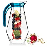 Home Ikon 2.6 Quart Fruit Infuser Water Pitcher w/Ice Core | BPA-Free, High-Grade Acrylic Water Infuser Jug Perfect For Healthy Fruit Infusions and Cold Beverages