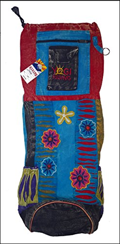 Large Yoga Mat Bag with Sling Strap & Backpack Handmade Cotton Nepali Fair Trade (Flowers)
