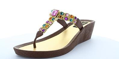 0315a7a82123fc Grandco Brilliance Women s Beaded Wedge Thong Sandal (9