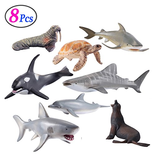 Sea Animals Figure Toys 8 Pcs Set, Realistic Ocean Creatures Action Models, Kids Education Cognitive Toy by M R Y