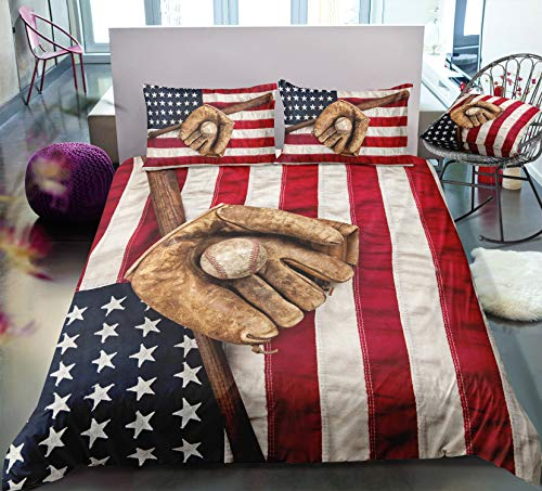 ADASMILE A & S 3D American Flag Baseball Bedding Set Kids 3 Piece Duvet Cover Set with Pillow Shams for Teens Boys Girls, Full Size
