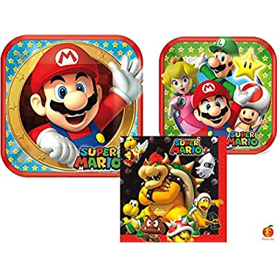 Super Mario Birthday Party Supplies Bundle with Luncheon Plates, Dessert Plates and Napkins for 8 Guests: Toys & Games