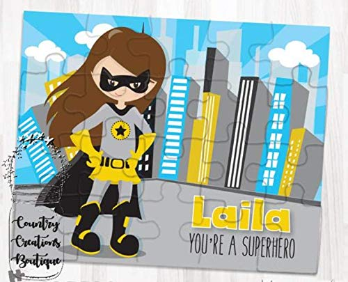 Personalized Superhero Puzzle with Childs Name and Matching Box 80 Pieces Superheros Great Gifts