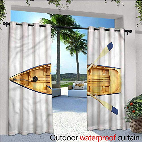 Privacy Paddle - Oar Outdoor- Free Standing Outdoor Privacy Curtain Wood Fishing Boat with Paddles for Front Porch Covered Patio Gazebo Dock Beach Home W84 x L84