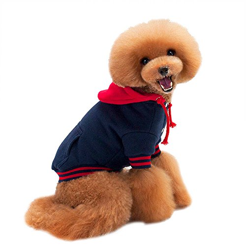 DBolomm*Dog Patchwork Pet Clothes Autumn Winter Sweater Hooded Jacket Lovely Doggy Costume(Blue, M)