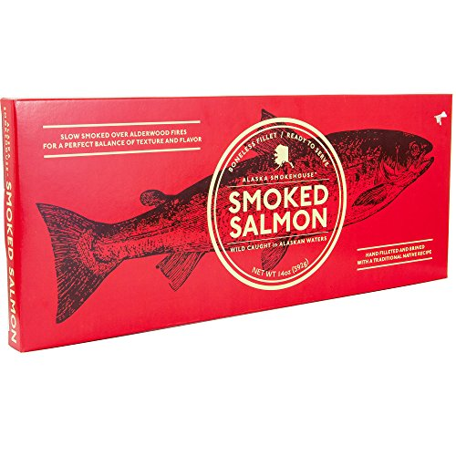 (Alaska Smoked Salmon Boneless Fillet | Slow Smoked Over Alderwood Fire | Hand Filleted & Brined With a Traditional Native Recipe | Smokehouse 14 Oz Holiday Gift Box. (Smokehouse))