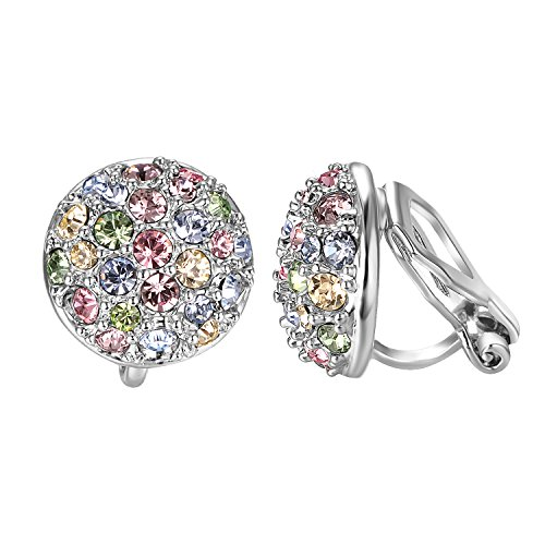 s For Women With Round Austrian Crystals Non Pierced Ears Clip-On Earrings (Clip-On Earrings) ()