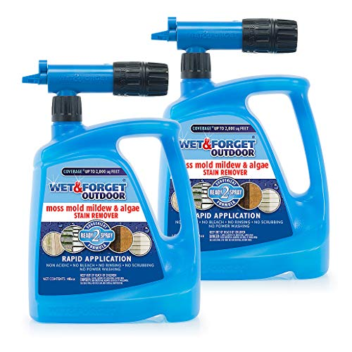 WET & FORGET Moss, Mold, Mildew and Algae Stain Remover Hose End, 48 oz - 2 Pack