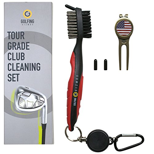 (Golf Club Brush Cleaner - Premium Tour Grade and Heavy Duty - Ideal Golf Gift for Golfers - Bonus Golf Divot Tool - Golfing Gizmos (Black/Red))
