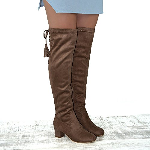 Essex Glam Damen Faux Wildleder Overknee High Lace Up Stiefel Taupe Faux Wildleder