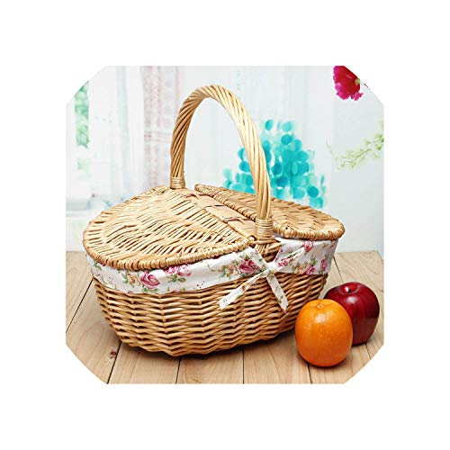 Wicker Willow Picnic Basket Hamper Shopping Vintage Basket with Lid and Handle Up to 10Kg for Camping for Shopping & Pets (Lobby Baskets Wicker Hobby)