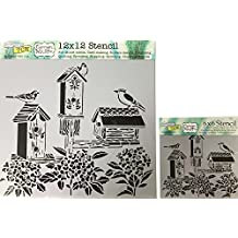 The Crafter's Workshop Set of 2 Stencils -Bird Houses 12x12 Large and 6x6 inch Mini - Includes 1 each TCW664 and TCW664s - Bundle 2 Items
