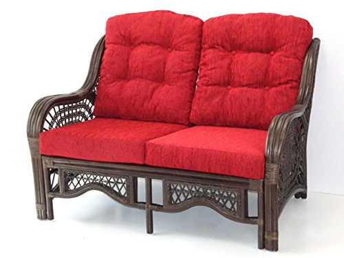 Malibu Design Handmade Rattan Wicker Lounge Loveseat Sofa Couch with Thick Burgundy Cushion Dark Brown