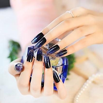 Moda falso nail-the encantador y elegante brillante largo ...