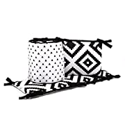 Black Triangles and Tiles on White Baby Crib Bumper by The Peanut Shell